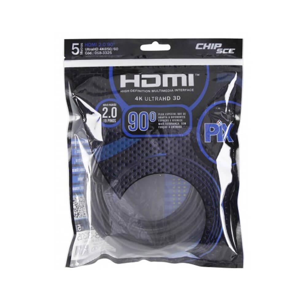 Cabo HDMI 19 Pinos 2.0 Premium Chipsce, 5 Metros, 4k, Ultra HD, 3D, 90 Graus  - Ziko Shop