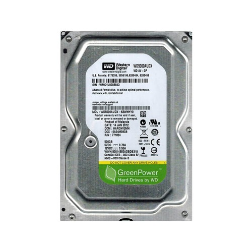 Disco Rígido HD 500GB SATA 5400 RPM Western Digital Green  - Ziko Shop