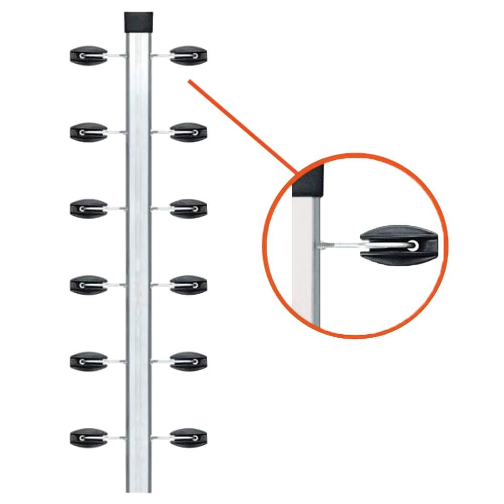 """Haste Industrial para cerca elétrica 1 Metro C/ 12 Isoladores """"Castanha"""" + Ganchos parafusados (30x30)  - Ziko Shop"""