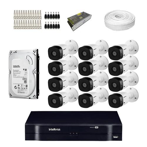 KIT 12 Câmeras Intelbras VHL 1220 B + DVR Intelbras 16 Canais Full HD Lite + Acessórios+ HD (Disco Rigido)  - Ziko Shop
