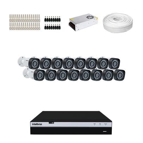 KIT 16 Câmeras Intelbras VHD 1220 B G4 + DVR Intelbras 16 Canais Full HD + Acessórios  - Ziko Shop