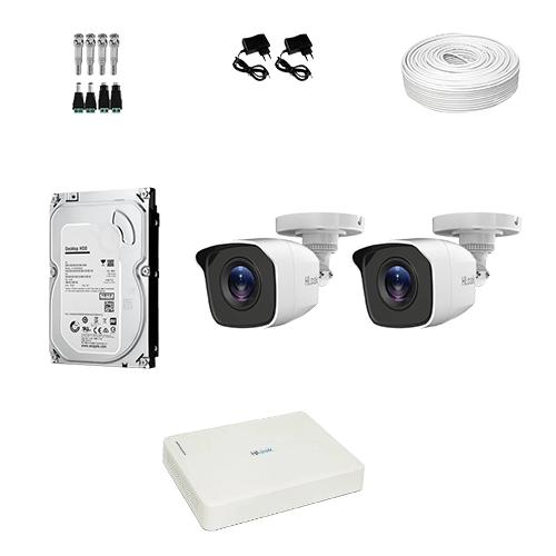 KIT 2 Câmeras Hilook HD THC-B110C-P + DVR Hilook 4 Canais HD + HD (Disco Rígido) + Acessórios  - Ziko Shop