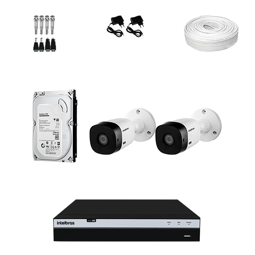 KIT 2 Câmeras Intelbras VHD 1220 B G5 + DVR Intelbras 4 Canais Full HD + HD (Disco Rígido) + Acessórios  - Ziko Shop