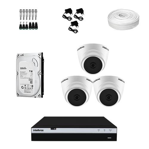 KIT 3 Câmeras Intelbras VHD 1220 D G5 + DVR Intelbras 4 Canais Full HD + HD (Disco Rígido) + Acessórios  - Ziko Shop