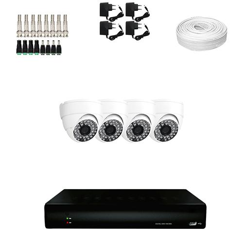 KIT 4 Câmeras Dome HD 720p + DVR 4 Canais 1080n + Acessórios  - Ziko Shop