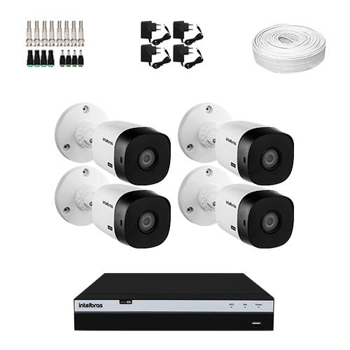 KIT 4 Câmeras Intelbras VHD 1420 B + DVR Intelbras 8 Canais Ultra HD + Acessórios  - Ziko Shop