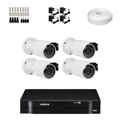 KIT 4 Câmeras HD 720p + DVR Intelbras 4 Canais HD + Acessórios  - Ziko Shop