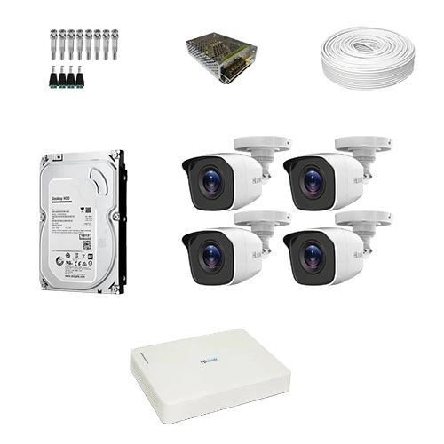 KIT 4 Câmeras Hilook HD THC-B110C-P + DVR Hilook 4 Canais HD + HD (Disco Rígido) + Acessórios  - Ziko Shop
