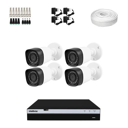 KIT 4 Câmeras Infra 1080p + DVR Intelbras 4 Canais Full HD + Acessórios  - Ziko Shop