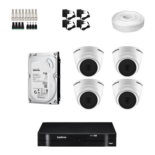 KIT 4 Câmeras Intelbras VHD 1120 D G5 + DVR Intelbras 4 Canais HD + HD (Disco Rígido) + Acessórios  - Ziko Shop