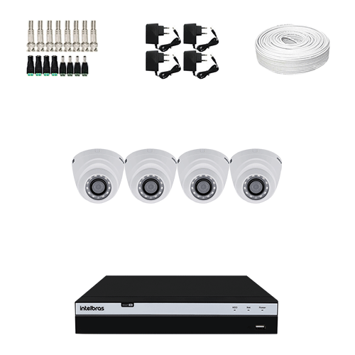KIT 4 Câmeras Intelbras VHD 1220 D G4 + DVR Intelbras 4 Canais Full HD + Acessórios  - Ziko Shop