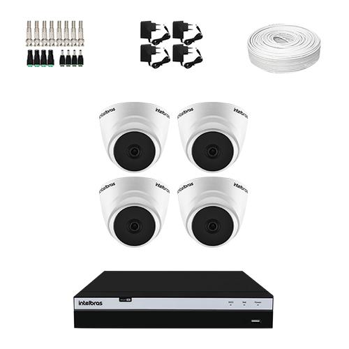 KIT 4 Câmeras de segurança Intelbras VHD 1220 D G6 + DVR Intelbras 4 Canais Full HD + Acessórios  - Ziko Shop