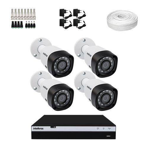 KIT 4 Câmeras Intelbras VHD 3230 B G5 + DVR Intelbras 4 Canais Full HD + Acessórios  - Ziko Shop