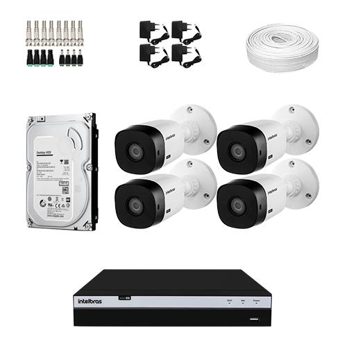 KIT Completo 4 Câmeras de segurança Intelbras VHL 1220 B + DVR Intelbras  + HD para Armazenamento + Acessórios + App Acesso Remoto  - Ziko Shop