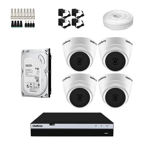 KIT 4 Câmeras Intelbras VHL 1220 D + DVR Intelbras 4 Canais Full HD + HD (Disco Rígido) + Acessórios  - Ziko Shop