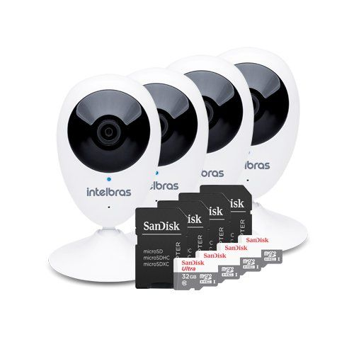 KIT 4 Câmeras IP Wireless IC3 + 4 Cartões SD 32GB  - Ziko Shop