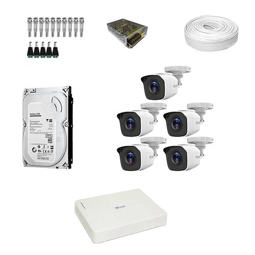 KIT 5 Câmeras de segurança Hilook HD THC-B110C-P + DVR Hilook 8 Canais HD + HD (Disco Rígido) + Acessórios  - Ziko Shop