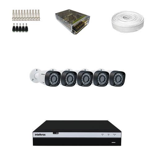 KIT 5 Câmeras Intelbras VHD 1220 B G4 + DVR Intelbras 8 Canais Full HD + Acessórios  - Ziko Shop