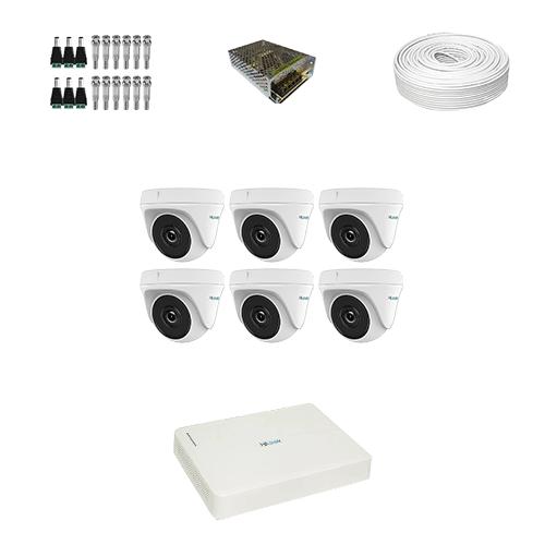 KIT 6 Câmeras Hilook HD THC-T110C-P + DVR Hilook 8 Canais HD + Acessórios  - Ziko Shop