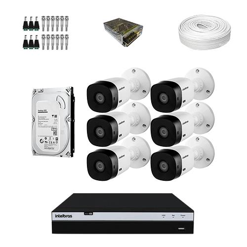 KIT 6 Câmeras Intelbras VHD 1220 B G5 + DVR Intelbras 8 Canais Full HD + HD (Disco Rígido) + Acessórios  - Ziko Shop