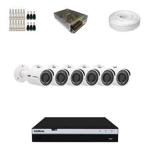 KIT 6 Câmeras Intelbras VHD 3230 B G4 + DVR Intelbras 8 Canais Full HD + Acessórios  - Ziko Shop