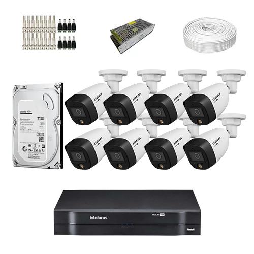 KIT Completo 8 Câmeras de segurança Intelbras VHD 1220 B Full Color + DVR  Intelbras + HD para Armazenamento + Acessórios + App Acesso Remoto  - Ziko Shop