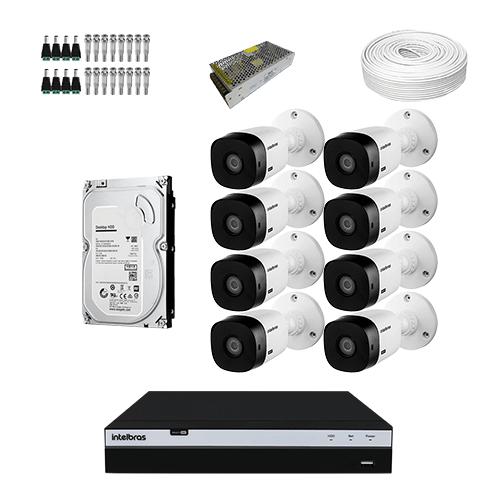KIT 8 Câmeras Intelbras VHD 1220 B G5 + DVR Intelbras 8 Canais Full HD + HD (Disco Rígido) + Acessórios  - Ziko Shop