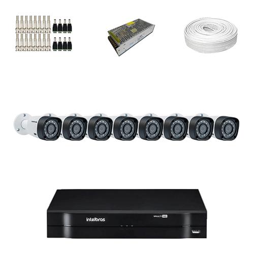 KIT 8 Câmeras Intelbras VHD 3130 B G4 + DVR Intelbras 8 Canais HD + Acessórios  - Ziko Shop