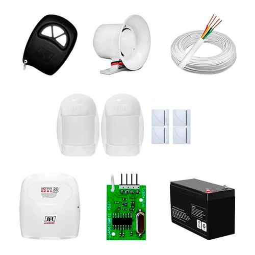 KIT Alarme Active 20 JFL + 06 sensores c/fio + Acessórios  - Ziko Shop