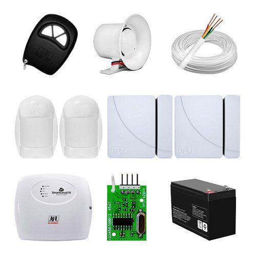 KIT Alarme Smart Cloud 18 JFL + 04 sensores c/fio + Acessórios  - Ziko Shop