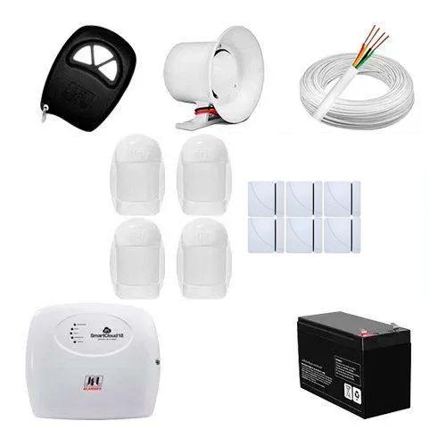 KIT Alarme Smart Cloud 18 JFL + 10 sensores c/fio + Acessórios  - Ziko Shop