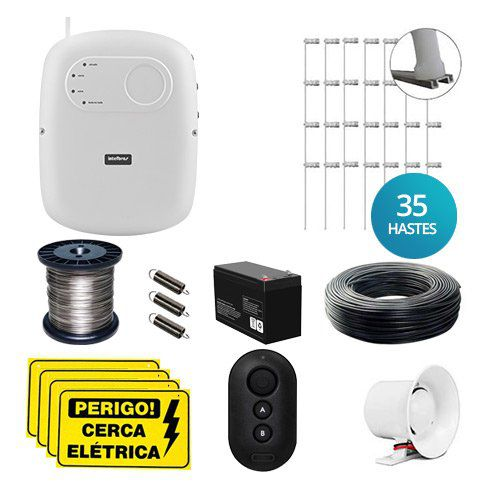 KIT Cerca ELC 5002 Intelbras + 35 Hastes com 4 Isoladores para 70m  - Ziko Shop