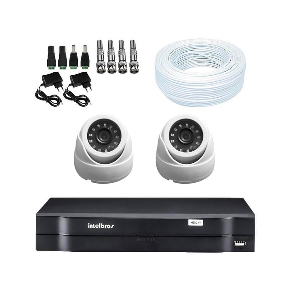 KIT DVR Intelbras + 2 câmeras Dome Infravermelho AHD 720p + Acessórios  - Ziko Shop