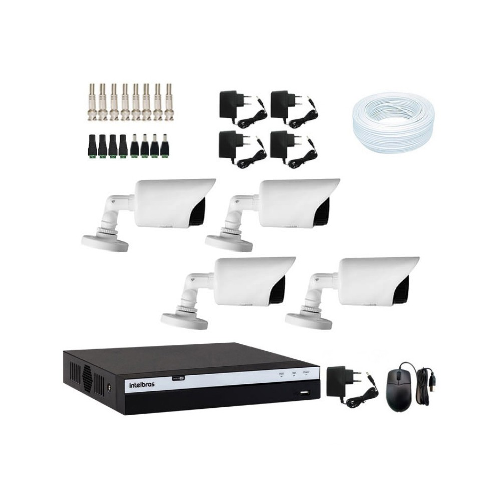 KIT DVR Intelbras MHDX Full HD + 04 Câmeras Infra Full HD 1080p + Acessórios  - Ziko Shop