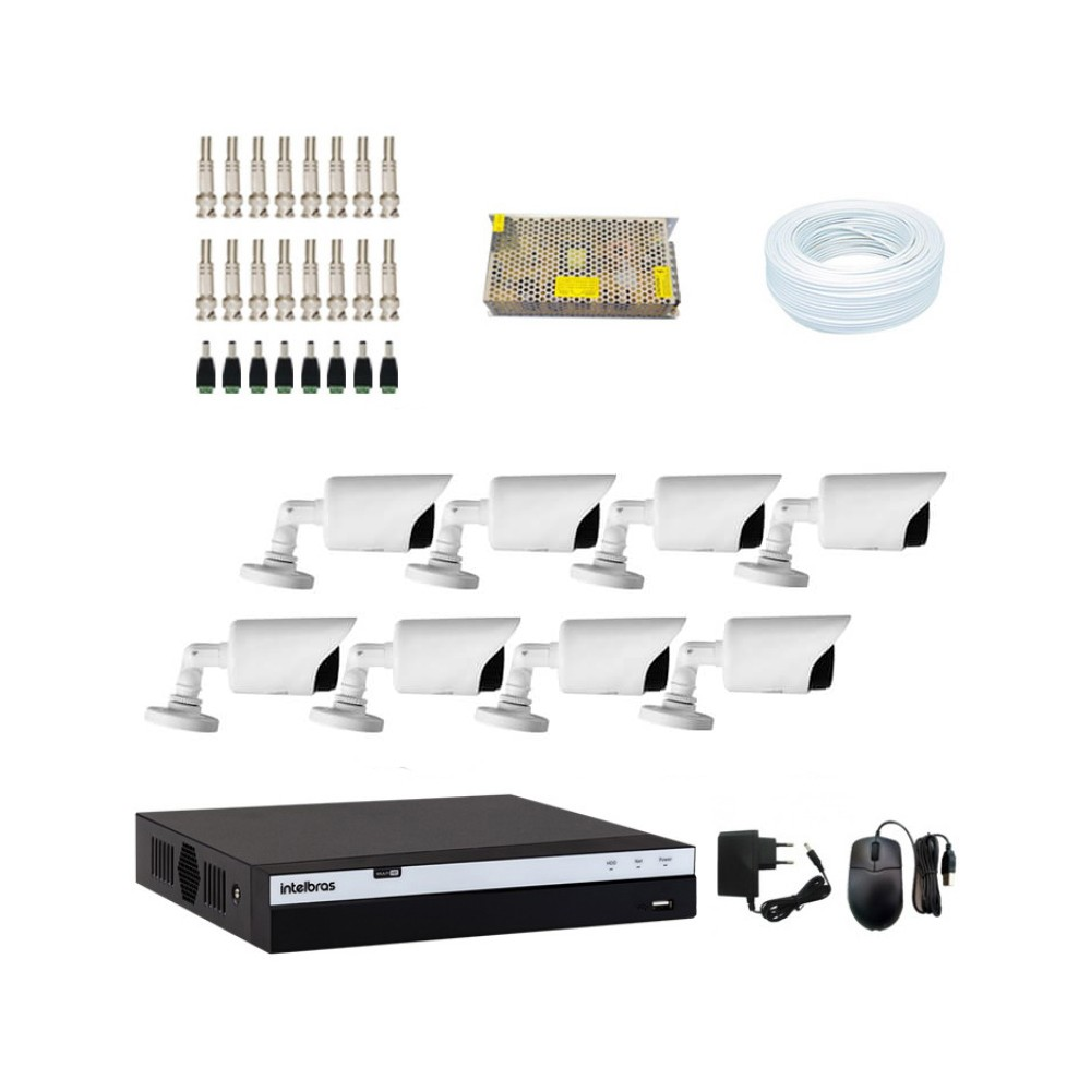 KIT DVR Intelbras MHDX Full HD + 08 Câmeras Infra Full HD 1080p + Acessórios  - Ziko Shop