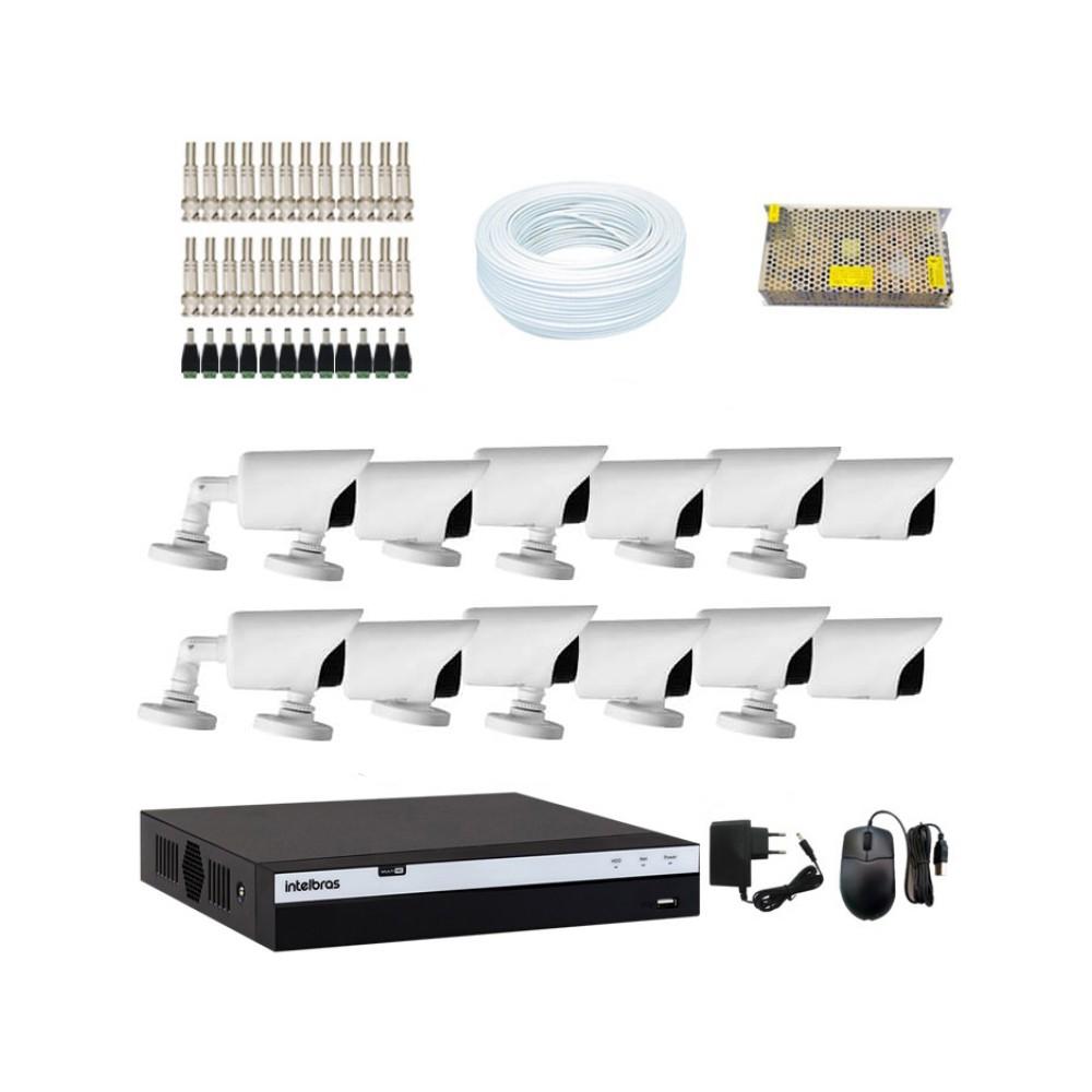 KIT DVR Intelbras MHDX Full HD + 12 Câmeras Infra Full HD 1080p + Acessórios  - Ziko Shop