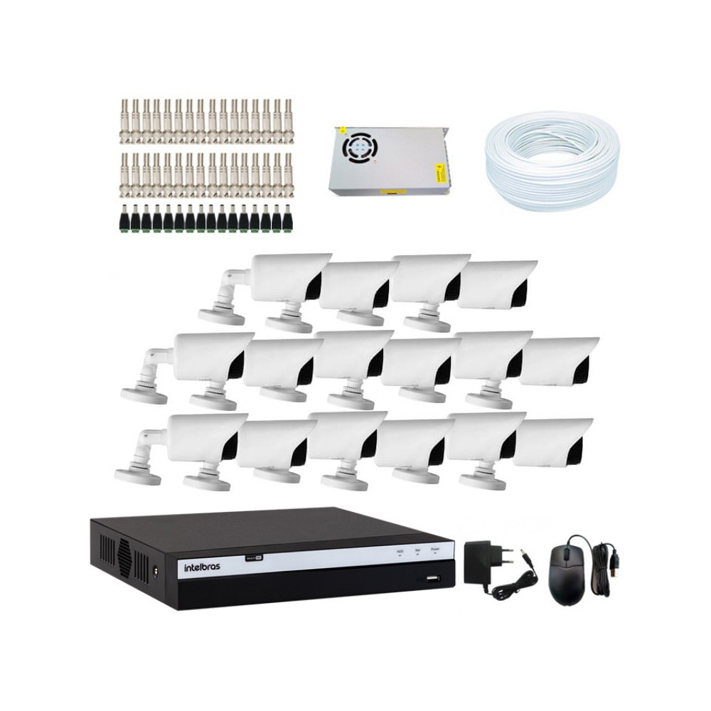 KIT DVR Intelbras MHDX Full HD + 16 Câmeras Infra Full HD 1080p + Acessórios  - Ziko Shop