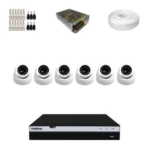 KIT 6 Câmeras Dome Full HD + DVR Intelbras 8 Canais Full HD + Acessórios  - Ziko Shop