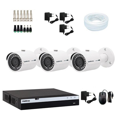 KIT DVR Intelbras Full HD 1080p + 3 Câmeras VHD 3230 Full HD+ Acessórios  - Ziko Shop