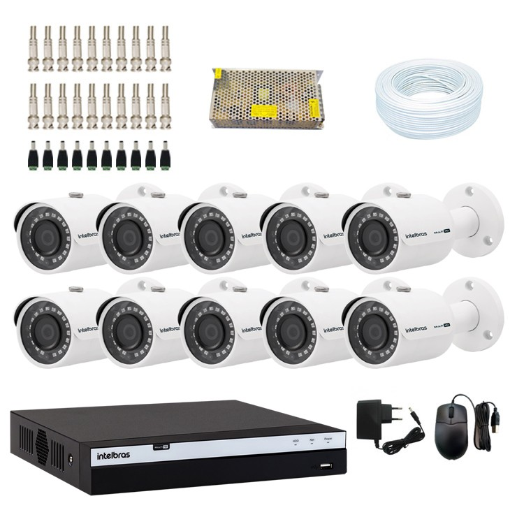 KIT DVR Intelbras Full HD 1080p MHDX + 10 Câmeras VHD 3230 B Full HD + Acessórios  - Ziko Shop