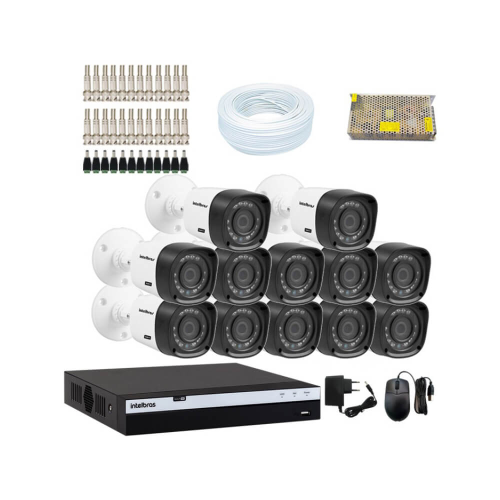 KIT DVR Intelbras Full HD 1080p MHDX + 12 Câmeras VHD 1220 B G4 Full HD + Acessórios  - Ziko Shop
