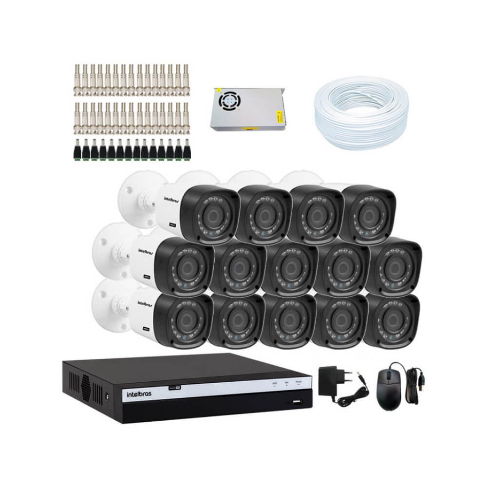 KIT DVR Intelbras Full HD 1080p MHDX + 14 Câmeras VHD 1220 B Full HD + Acessórios  - Ziko Shop