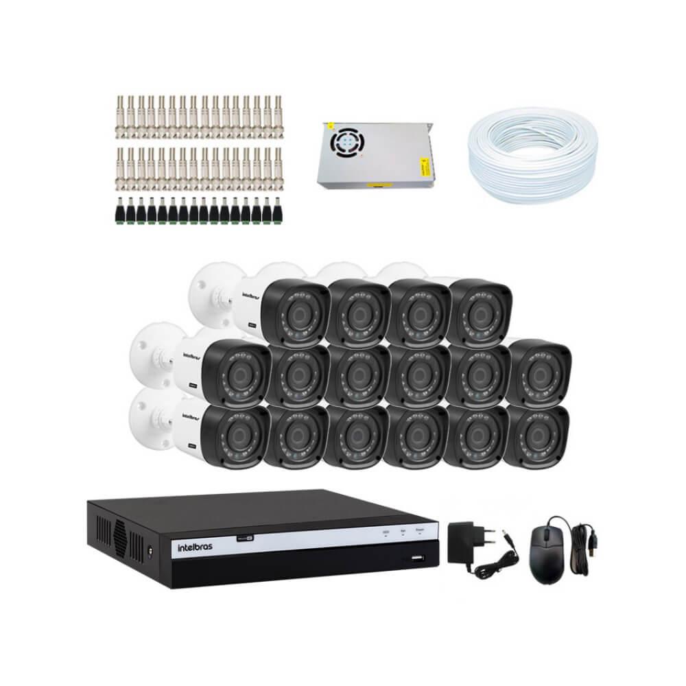 KIT DVR Intelbras Full HD 1080p MHDX + 16 Câmeras VHD 1220 B G4 Full HD + Acessórios  - Ziko Shop