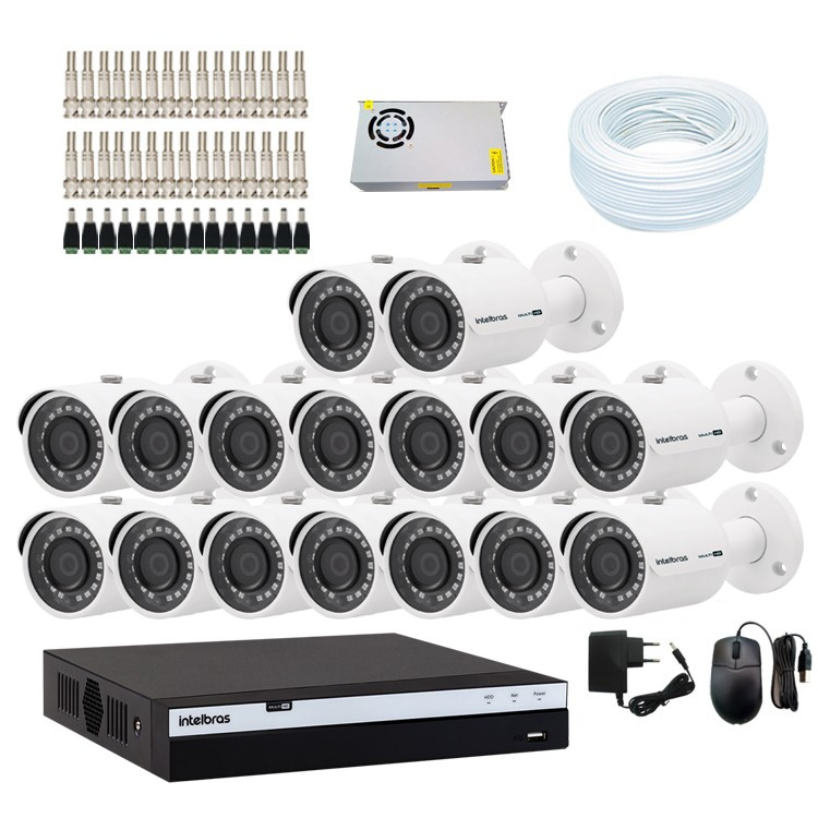 KIT DVR Intelbras Full HD 1080p MHDX + 16 Câmeras VHD 3230 B Full HD + Acessórios  - Ziko Shop