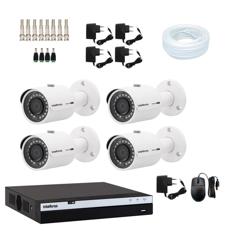 KIT DVR Intelbras Full HD 1080p + 4 Câmeras VHD 3230 Full + Acessórios  - Ziko Shop