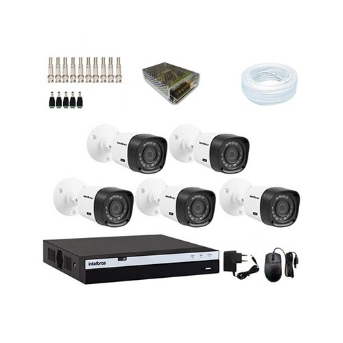 KIT DVR Intelbras Full HD + 5 Câmeras VHD 1220 B G4 Full HD + Acessórios - Ziko Shop