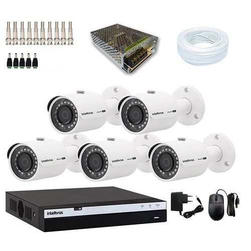 KIT DVR Intelbras Full HD + 5 Câmeras VHD 3230 B Full HD + Acessórios  - Ziko Shop