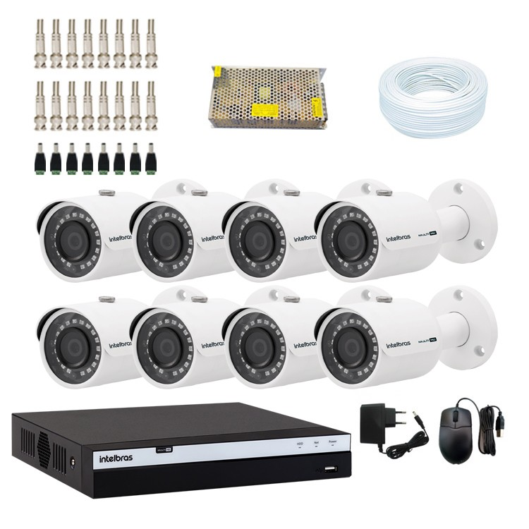 KIT DVR Intelbras Full HD + 8 Câmeras VHD 3230 B Full HD + Acessórios  - Ziko Shop