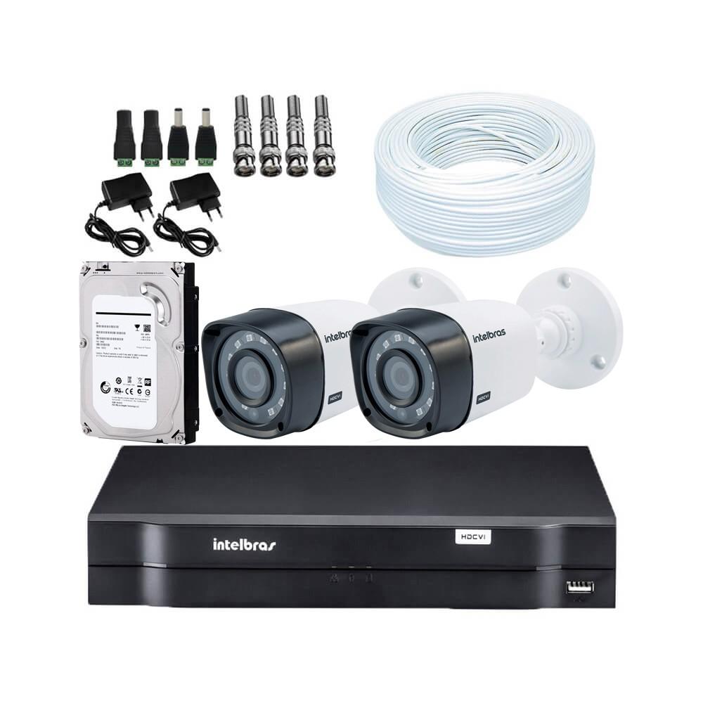 KIT DVR Intelbras MHDX + 2 Câmeras VHD 1120 B G4 + HD + Acessórios. (Instale você mesmo)  - Ziko Shop