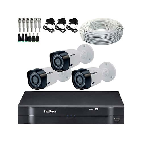 KIT DVR Intelbras MHDX + 3 Câmeras VHD 1120 B G4 + Acessórios  - Ziko Shop
